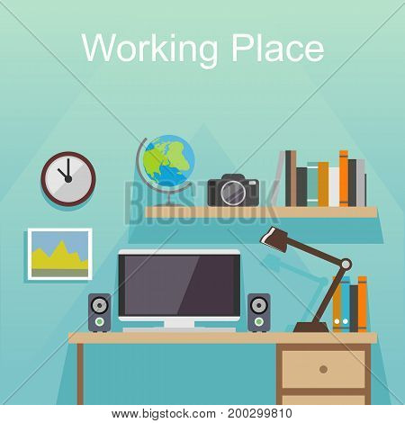 Working place place illustration. Banner illustration. Flat design illustration concepts for working place at office or at home.