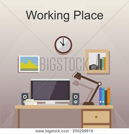 Working place or studying place illustration. Banner illustration. Flat design illustration concepts for working place at office working place at home. Workplace studying place.