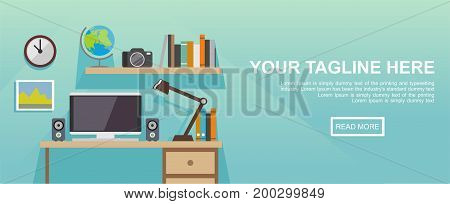 Study room. Working place illustration. Banner illustration. Flat design illustration concepts for working place at office, working place at home, workspace, workplace.