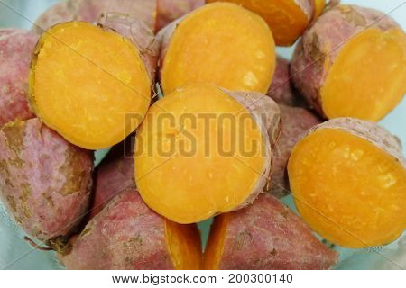 Vegetable of Close Up of Streamed Orange Sweet Potatoes High in Vitamin A Vitamin C and Vitamin B6.