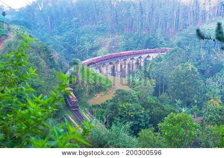 Morning Train On Nine Arches Bridge In Ella