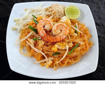 Pad thai shrimp is noodle food Thai Style.