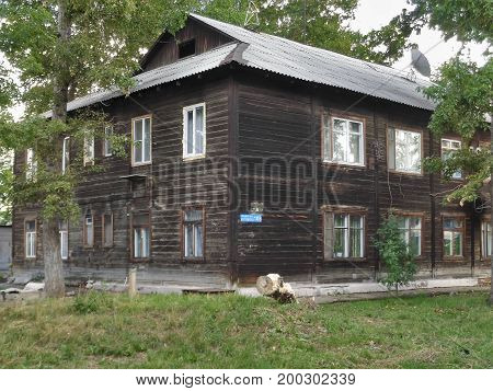 Kazakhstan, Ust-Kamenogorsk - 02, August 2017. Old house on the street Chernova. Old wooden house. Old architecture