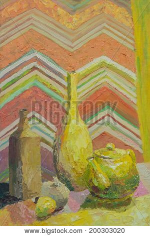 Still life in oil on canvas. Bottles and teapot in yellow with orange drapery
