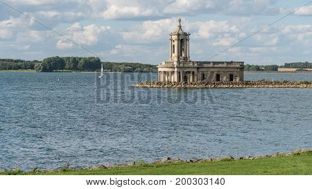 British church at Normanton extending in to Rutland water south shore