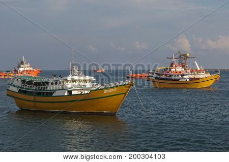 Labuan,Malaysia-July 20,2017:View of traditional vessel Philippines known as Kumpit in Labuan free port,Malaysia.This vessels engaged with Barter Trade between Philippines & Sabah,Malaysia