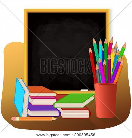 School set on white background. Colored pencils in red cup. Books with color cover blackboard with chalk. Raster copy