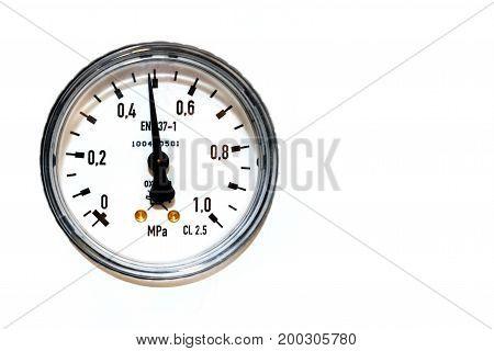 barometer round scale on white background isolated