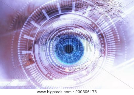 Abstract blue eye with digital circle. Futuristic vision science and indentification concept