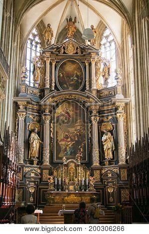 KUTNA HORA, CZECH REPUBLIC - AUGUST 14, 2017: Interior of Cathedral of St. Barbara, Kutna Hora, Czech Republic