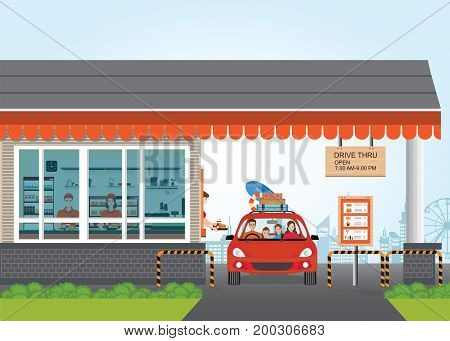 Family Getting Food at a Drive Thru Restaurant flat design vector illustration.