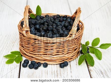 Basket With Blueberries