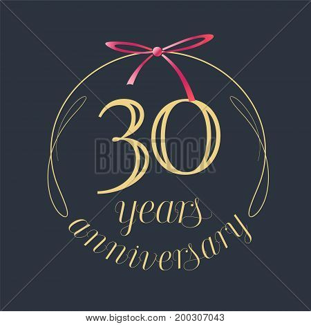 30 years anniversary celebration vector icon logo. Template design element with golden number and red bow for 30th anniversary greeting card