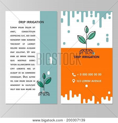 Drip irrigation. Template brochure, flyer, business card and place for text.