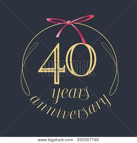 40 years anniversary celebration vector icon logo. Template design element with golden number and red bow for 40th anniversary greeting card