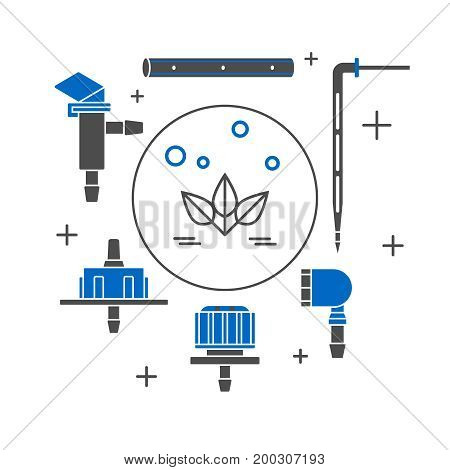Set of drip irrigation icons. Vector illustration.