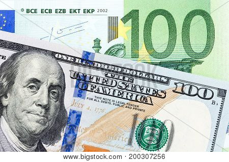 American and European currency paper bill. High resolution photo.