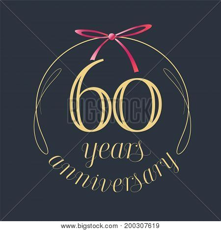 60 years anniversary celebration vector icon logo. Template design element with golden number and red bow for 60th anniversary greeting card