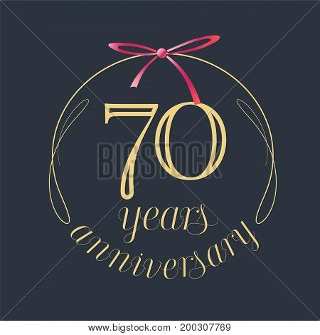 70 years anniversary celebration vector icon logo. Template design element with golden number and red bow for 70th anniversary greeting card