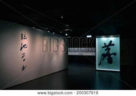 The Exhibition Of Chinese Letters At Taiwan National Museum In Taipei.