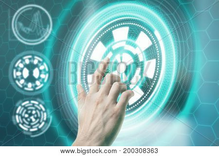 Male hand pressing abstract digital button. Technology media and interface concept. 3D Rendering