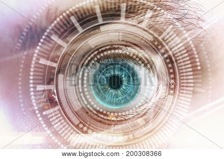 Abstract blue eye with digital circle. Futuristic vision science and scanning concept