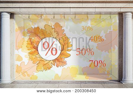 Storefront window display glass showcase exterior with concrete columns and creative autumn leaves fall foliage sale sketch drawing in daylight. Marketing concept. 3D Rendering