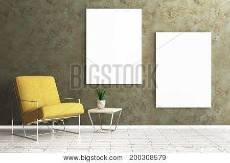 Living Room With Empty Poster