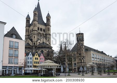 COLOGNE GERMANY - FEBRUARY 22 2016: View of embankment in Cologne the largest city in the German federal State of North Rhine-Westphalia and the fourth-largest city in Germany