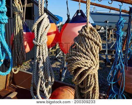 Sailing ropesbuoy and securing equipment in a mariana great boating image