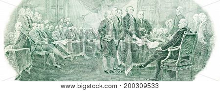 Declaration of independence from the U.S. two dollars bill. High resolution photo.
