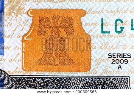 Liberty Bell U.S. currency one hundred dollar bill. High resolution photo.