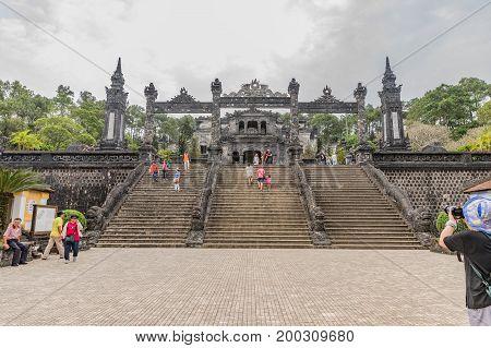 Hue Vietnam - Mar 16 2017: Tomb of Khai Dinh emperor in Hue Vietnam. A UNESCO World Heritage Site. Hue Vietnam