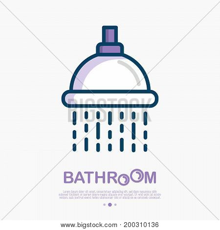 Shower with flowing water thin line icon. Vector illustration of hygiene for health.