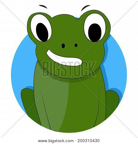 Green frog icon app vector. Frog isolated toad cartoon illustration