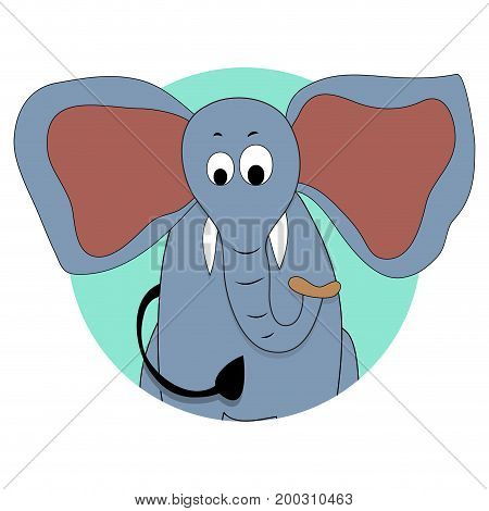 Elephant icon vector avatar. African elephant cartoon illustration