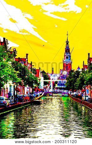 ALKMAAR THE NETHERLANDS - AUGUST 25 2013: Vibrant colorful illustration of Alkmaar architecture the Netherlands
