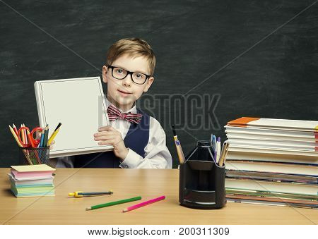 Student Child holding Book Cover School Kid Boy in Classroom Elementary Education
