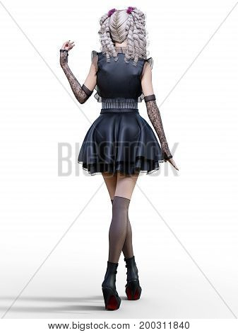 Beautiful young goth woman posing photo shoot. Short black dress, dark stockings, shoes. Long blonde hair. Bright gothic make up. Conceptual fashion art. Realistic 3D render illustration.