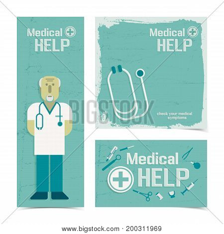 Medicine and treatment banners set with doctor and help symbols flat isolated vector illustration
