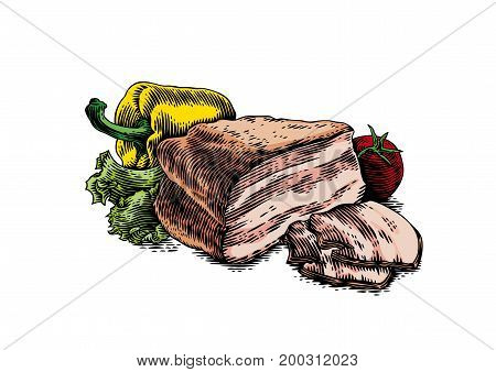 Piece of brisket with tomato yellow pepper and green lettuce