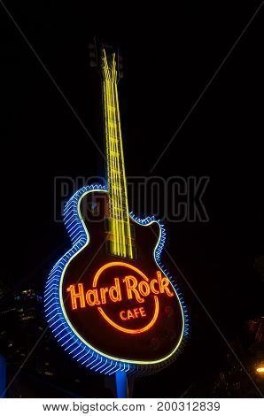 Gold Coast, Australia - July 8, 2017: Hard Rock Cafe in Surfers Paradise on the Gold Coast. Hard Rock Cafe is an American restaurant chain.