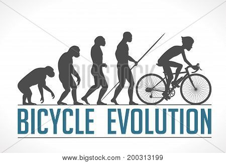 Human evolution - cycleing - stock illustration - bicycle