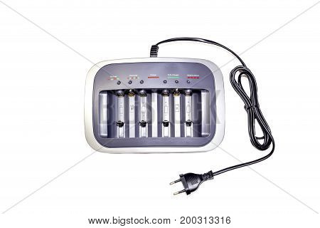 Charger for battery on a white background closeup