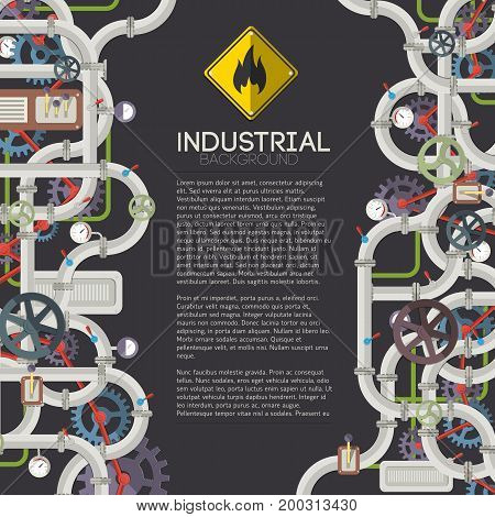 Industrial mechanical background with text metal pipeline gears valves wheels and mechanisms vector illustration
