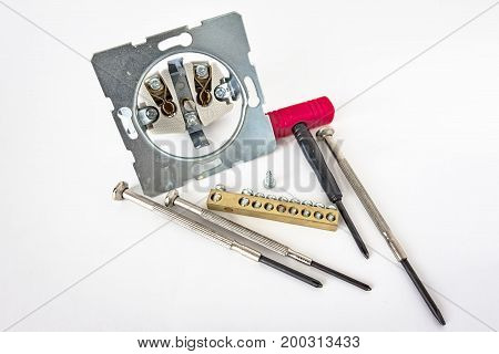 A set of small screwdrivers in the set of bolts
