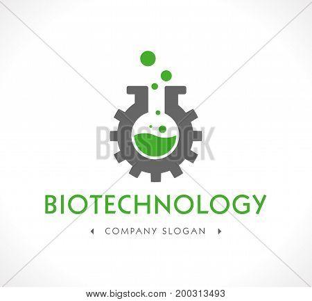 Biotechnology concept logo - vector logo illustration