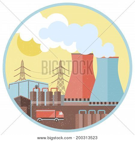 Industrial factory design concept with pipes smoke chimney truck in circle isolated vector illustration