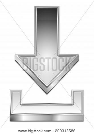 glossy silver Download Symbol - 3D illustration