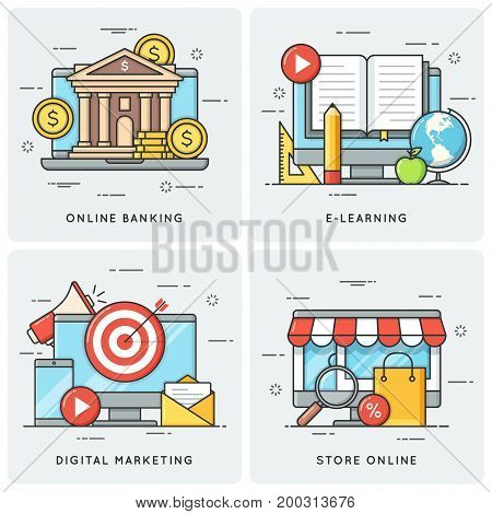 Online banking. E-learning. Digital marketing. Store online. Vector flat line concepts, icons illlustrations